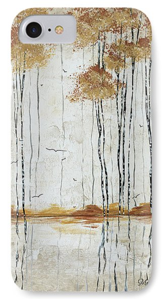 Abstract Neutral Landscape Pond Reflection Painting Mystified Dreams I By Megan Ducanson Phone Case by Megan Duncanson