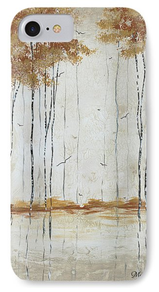 Abstract Neutral Landscape Pond Reflection Painting Mystified Dreams II By Megan Ducanson Phone Case by Megan Duncanson