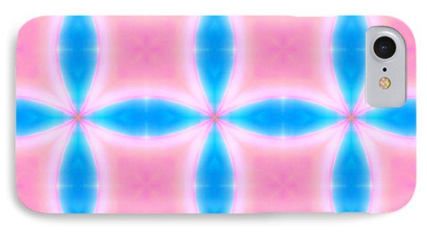IPhone Case featuring the digital art Abstract Pattern Of Pink And Blue Squares by Shelley Neff