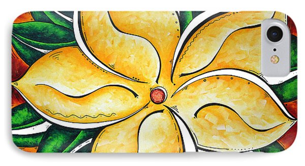Abstract Pop Art Yellow Plumeria Flower Tropical Passion By Madart Phone Case by Megan Duncanson