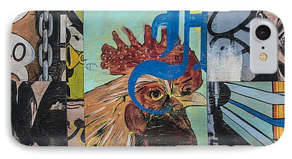 IPhone Case featuring the mixed media Abstract Rooster Panel by Terry Rowe