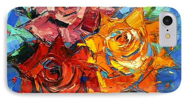Abstract Roses On Blue IPhone Case by Mona Edulesco