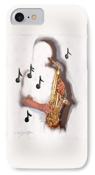 Abstract Saxophone Player IPhone Case by Tom Conway