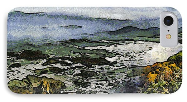 Abstract Seascape Morro Bay California Phone Case by Barbara Snyder