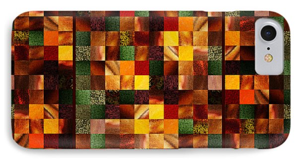 Abstract Squares Triptych Gentle Brown IPhone Case by Irina Sztukowski