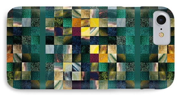 Abstract Squares Triptych Gentle Green IPhone Case by Irina Sztukowski