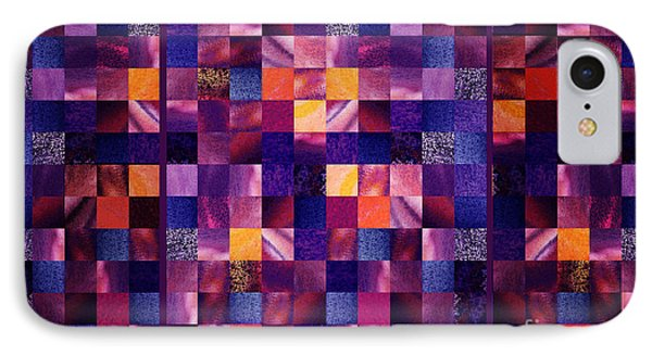 Abstract Squares Triptych Gentle Purple IPhone Case by Irina Sztukowski