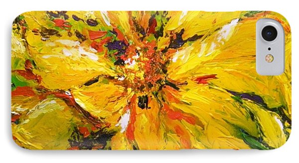 IPhone Case featuring the painting Abstract Sunflower by Lori Ippolito