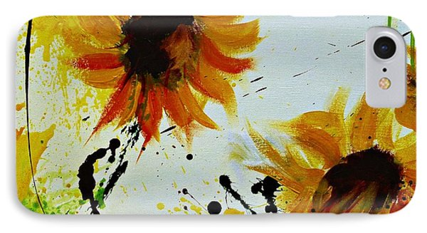 Abstract Sunflowers 2 Phone Case by Ismeta Gruenwald