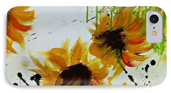 Abstract Sunflowers Phone Case by Ismeta Gruenwald