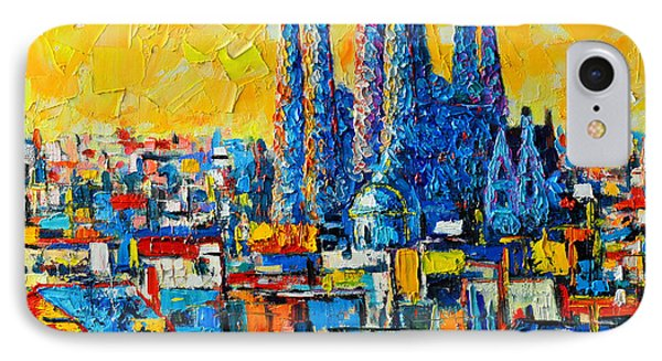 Abstract Sunset Over Sagrada Familia In Barcelona IPhone Case by Ana Maria Edulescu