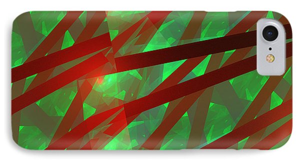 Abstract Tiled Green And Red Fractal Flame Phone Case by Keith Webber Jr