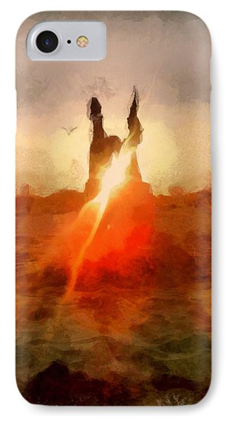 Abstracted Beach Castle Sun Bird Summer Warm Happy Painting By Mendyz IPhone Case by MendyZ
