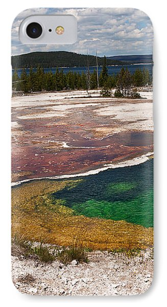 IPhone Case featuring the photograph Abyss Pool And Yellowstone Lake by Sue Smith