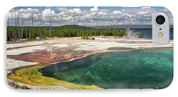 Abyss Pool, West Thumb Geyser Basin IPhone Case by Michel Hersen
