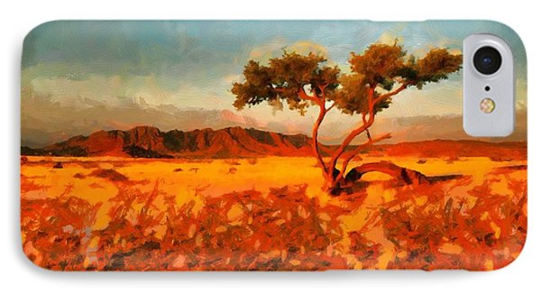 IPhone Case featuring the digital art Acacia Tree In Namibia by Kai Saarto