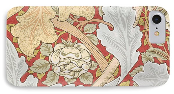Acanthus Leaves Wild Rose On Crimson Background IPhone Case by William Morris