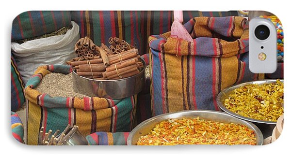IPhone Case featuring the photograph Acco Acre Israel Shuk Market Spices Stripes Bags by Paul Fearn