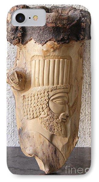 Achaemenian Soldier Relief Sculpture Wood Work Phone Case by Persian Art