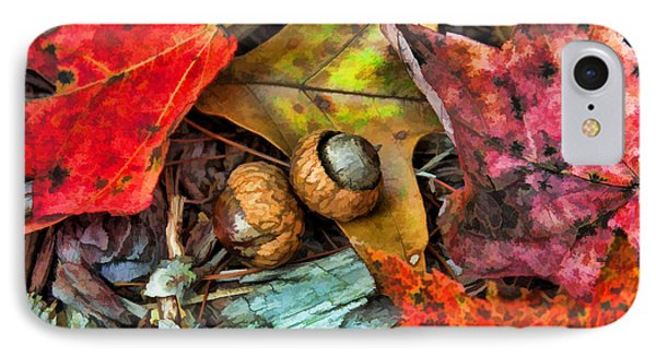 Acorns And Leaves IPhone Case by Kenny Francis