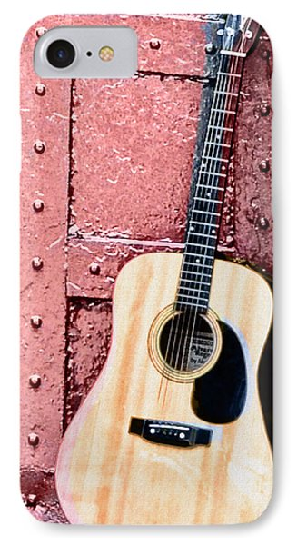 Acoustic Guitar And Red Door Phone Case by Bill Cannon