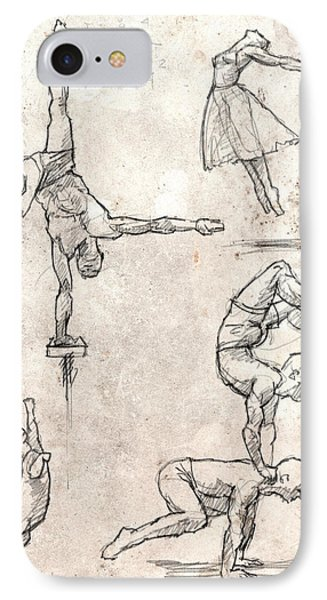 Acrobats And Dancer With Cat IPhone Case by H James Hoff