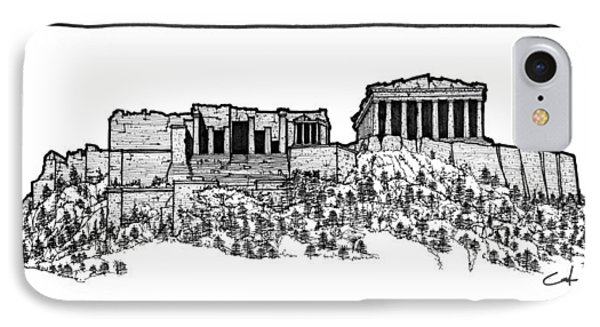IPhone Case featuring the drawing Acropolis Of Athens by Calvin Durham