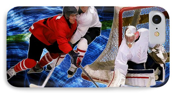 Action At The Hockey Net IPhone Case by Elaine Plesser