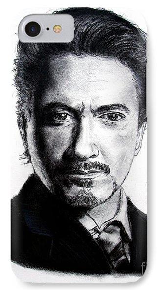 Actor Robert Downey Jr IPhone Case by Jim Fitzpatrick