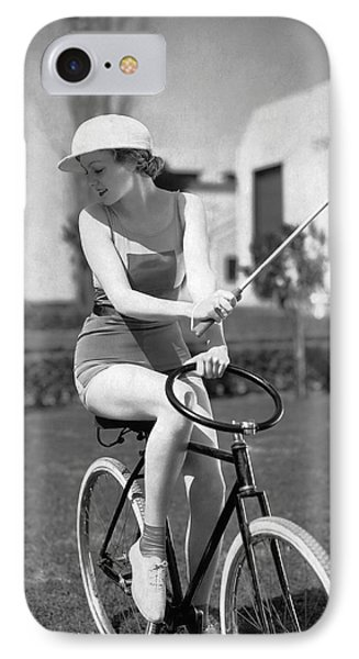 Actress Plays Bike Polo IPhone Case by Underwood Archives