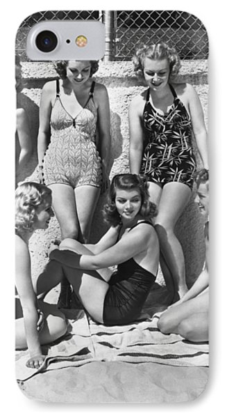 Actresses At Malibu Beach IPhone Case by Underwood Archives