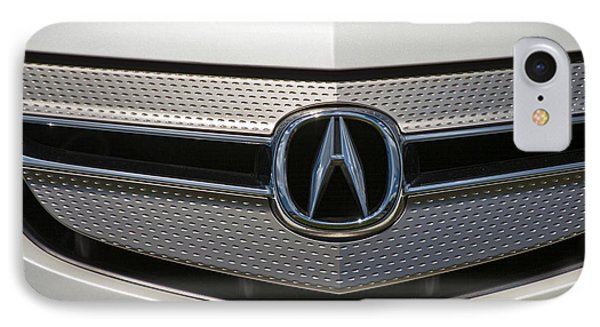 Acura Grill Emblem Close Up IPhone Case by David Zanzinger