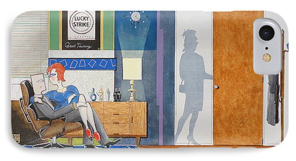 Ad Man Sitting In An Eames With Girl Friday IPhone Case by John Lyes