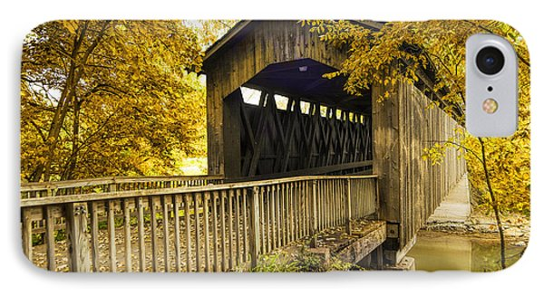 Ada Covered Bridge In Autumn IPhone Case by Randall Nyhof