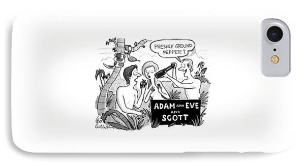 Adam And Eve And Scott IPhone Case by Leo Cullum