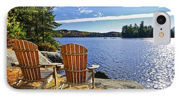 Adirondack Chairs At Lake Shore Phone Case by Elena Elisseeva