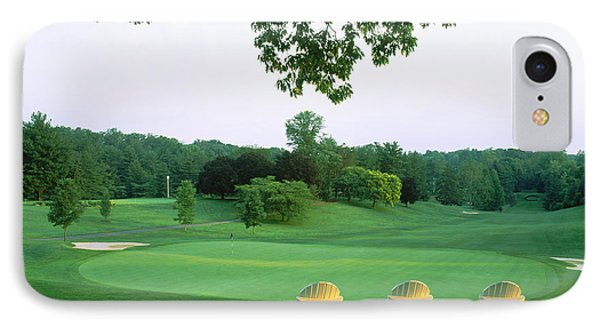 Adirondack Chairs In A Golf Course IPhone Case by Panoramic Images