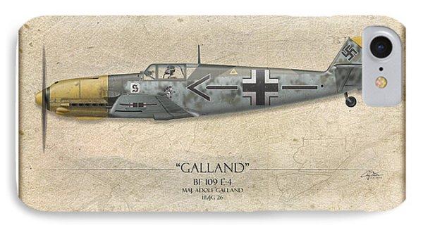 Adolf Galland Messerschmitt Bf-109 - Map Background Phone Case by Craig Tinder