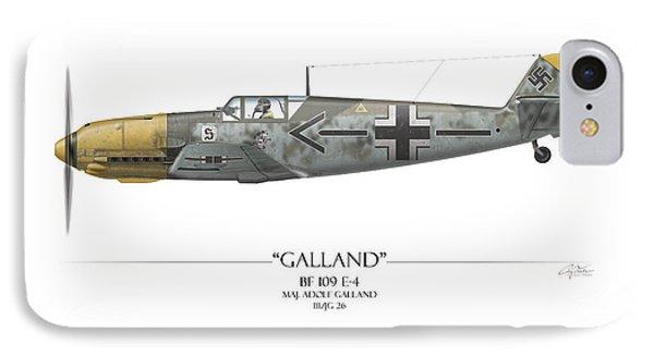 Adolf Galland Messerschmitt Bf-109 - White Background Phone Case by Craig Tinder