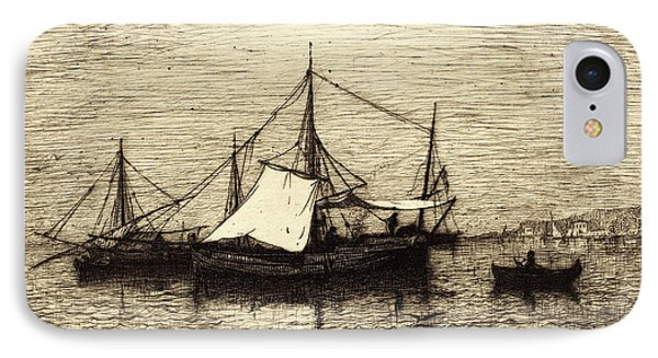 Adolphe Appian, French 1818-1898, Coasting Trade Vessels IPhone Case