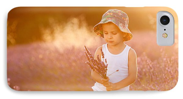 Adorable Cute Boy With A Hat In A Lavender Field Phone Case by Tatyana Tomsickova