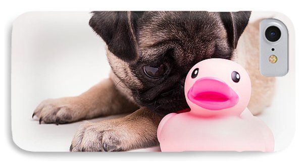 Adorable Pug Puppy With Pink Rubber Ducky Phone Case by Edward Fielding