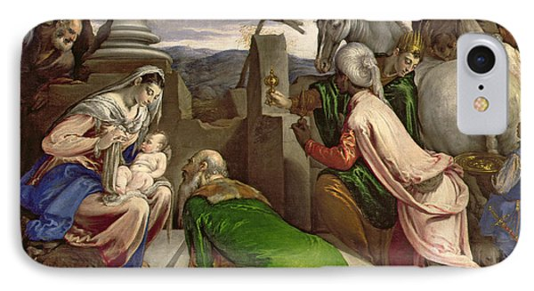 Adoration Of The Magi IPhone Case by Jacopo Bassano