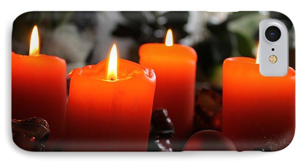 IPhone Case featuring the photograph Advent Candles Christmas Candle Light by Paul Fearn