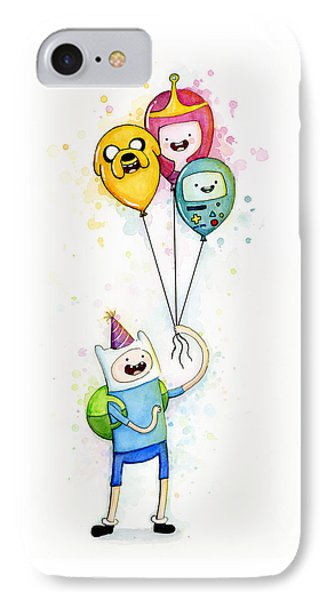 Adventure Time Finn With Birthday Balloons Jake Princess Bubblegum Bmo IPhone Case by Olga Shvartsur