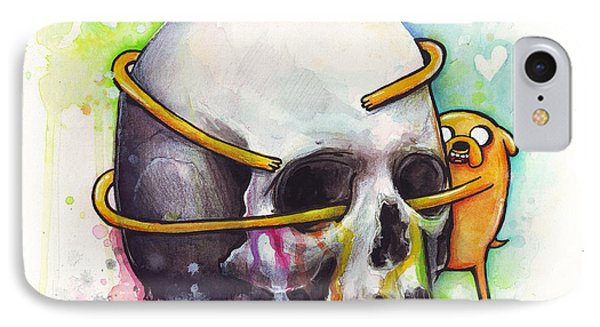 Adventure Time Jake Hugging Skull Watercolor Art IPhone Case by Olga Shvartsur