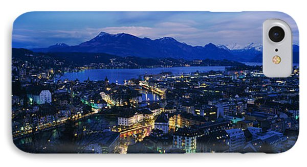 Aerial View Of A City At Dusk, Lucerne IPhone Case by Panoramic Images