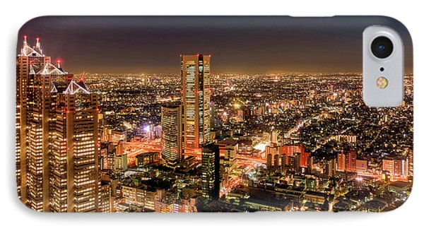 Aerial View Of A City At Night IPhone Case by Panoramic Images