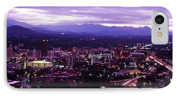 Aerial View Of A City Lit Up At Dusk IPhone Case by Panoramic Images
