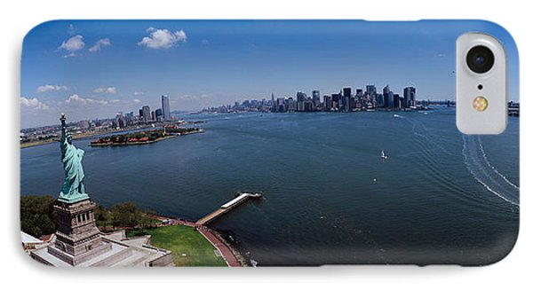 Aerial View Of A Statue, Statue IPhone Case by Panoramic Images